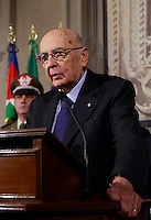 Il Presidente della Repubblica Giorgio Napolitano parla ai giornalisti al termine delle consultazioni al Quirinale sulla crisi di governo, a Roma, 15 febbraio 2014.<br /> Italy's Head of State Giorgio Napolitano meets journalists at the end of his consultations with political leaders on the formation of a new government, at the Quirinale presidential palace in Rome, 15 February 2014.<br /> UPDATE IMAGES PRESS/Isabella Bonotto