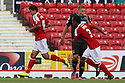 Massimo Luongo of Swindon (l) celebrates scoring<br />  Swindon Town v Stevenage - Sky Bet League One- The County Ground, Swindon - 10th August 2013<br /> © Kevin Coleman 2013