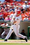 5 September 2005: Brad Wilkerson, of the Washington Nationals, hits a lead-off single in the first inning against the Florida Marlins. The Nationals defeated the Marlins 5-2 at RFK Stadium in Washington, DC, maintaining a close race for the NL Wildcard spot. Mandatory Photo Credit: Ed Wolfstein.