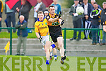 William Kirby Austin Stacks in action against Conor Cox Feale Rangers in the County Championship in Listowel on Sunday