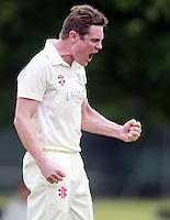 Craig Gourlay of Highgate celebrates capturing a South Hampstead wicket during the Middlesex County Cricket League Division Three game between Highgate and South Hampstead at Park Road, Crouch End on Sat Aug 2, 2014