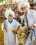 Bria Boell, left, dressed as a mad scientist along with FFA member Kennedy Moffitt during the Bucket Calf event during the Warren County Fair.