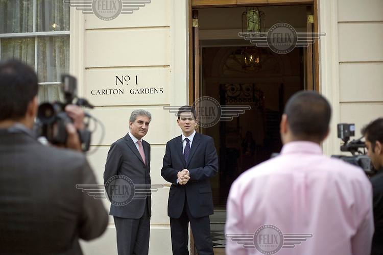 David Miliband, Secretary of State for Foreign and Commonwealth Affairs, and Member of Parliament for South Shields, Tyne and Wear, at a meeting at his official London residence with the Pakistani Foreign Minister, Mr Makhdoom Shah Mehmood Hussain Qureshi.