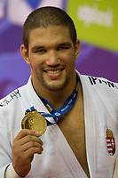 Gold medalist Krisztian Toth of Hungary celebrates his victory during an awards ceremony after the Men -90 kg category at the Judo Grand Prix Budapest 2018 international judo tournament held in Budapest, Hungary on Aug. 12, 2018. ATTILA VOLGYI