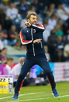 Stoke City manager Nathan Jones shouts instructions to his team from the technical area<br /> <br /> Photographer Alex Dodd/CameraSport<br /> <br /> The Carabao Cup Second Round- Leeds United v Stoke City - Tuesday 27th August 2019  - Elland Road - Leeds<br />  <br /> World Copyright © 2019 CameraSport. All rights reserved. 43 Linden Ave. Countesthorpe. Leicester. England. LE8 5PG - Tel: +44 (0) 116 277 4147 - admin@camerasport.com - www.camerasport.com