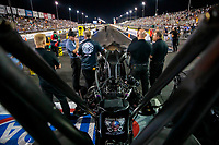 Sep 27, 2019; Madison, IL, USA; Crew members surround the dragster of NHRA top fuel driver Mike Salinas during qualifying for the Midwest Nationals at World Wide Technology Raceway. Mandatory Credit: Mark J. Rebilas-USA TODAY Sports