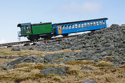 Mount Washington Cog...Biodiesel Locomotive near the summit of Mount Washington. Located in the White Mountains, New Hampshire USA. This is Mount Washington Cog Railway's first Biodiesel Locomotive