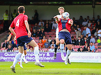 Leeds United's Patrick Bamford battles with York City's Steve McNulty<br /> <br /> Photographer Alex Dodd/CameraSport<br /> <br /> Football Pre-Season Friendly - York City v Leeds United - Wednesday 10th July 2019 - Bootham Crescent - York<br /> <br /> World Copyright © 2019 CameraSport. All rights reserved. 43 Linden Ave. Countesthorpe. Leicester. England. LE8 5PG - Tel: +44 (0) 116 277 4147 - admin@camerasport.com - www.camerasport.com
