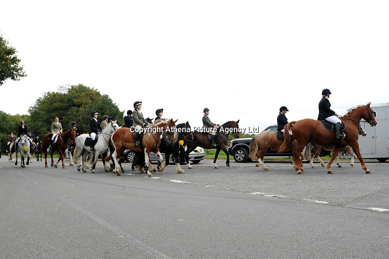 "Pictured: Funeral cortege arrives at Maragam Crematorium in Port Talbot, Wales, UK. Monday 08 October 218<br /> Re: A grieving father will mourners on horseback at the funeral of his ""wonderful"" son who killed himself after being bullied at school.<br /> Talented young horse rider Bradley John, 14, was found hanged in the school toilets by his younger sister Danielle.<br /> Their father, farmer Byron John, 53, asked the local riding community to wear their smart hunting gear at Bradley's funeral.<br /> Police are investigating Bradley's death at the 500-pupils St John Lloyd Roman Catholic school in Llanelli, South Wales.<br /> Bradley's family claim he had been bullied for two years after being diagnosed with Attention Deficit Hyperactivity Disorder.<br /> He went missing during lessons and was found in the toilet cubicle by his sister Danielle, 12."
