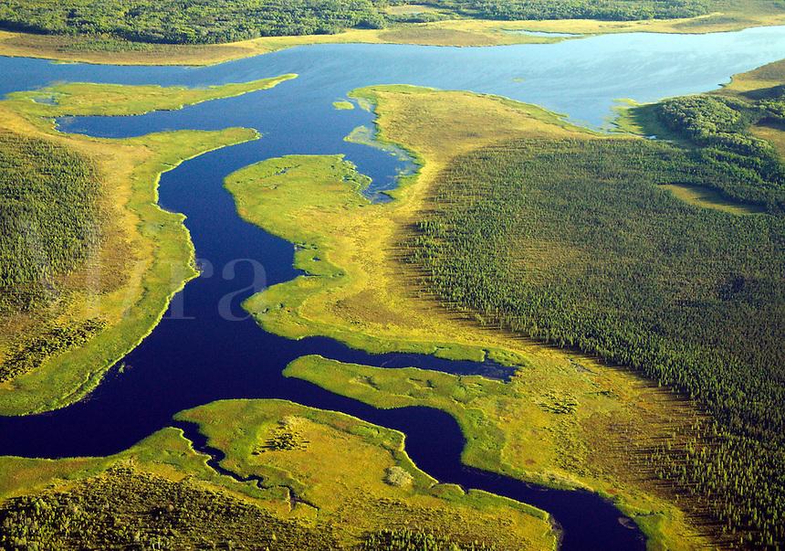Aerial of Rat Root River and Black Bay, Minnesota