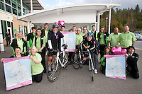 ASDA's Forest Town superstore ran a fun event in aid of its 'Tickled Pink' campaign. Two of the ASDA riders who are raising £100,000 with a 112 store 1,800 mile bike ride paid a visit - Gavin Mears (left and Craig Antrobus (right) who are pictured with colleagues from the store.