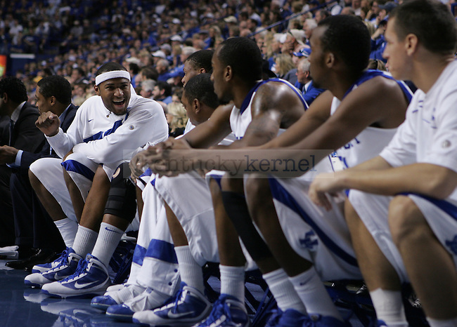University of Kentucky freshman forward DeMarcus Cousins jokes with teammates during the first half of UK's 93-63 win over Rider on Nov., 21, 2009 in Lexington, Ky...Photo by Ed Matthews | Staff