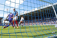 Jamal Lowe of Portsmouth left slots the ball home to score the first goal during Portsmouth vs Luton Town, Sky Bet EFL League 1 Football at Fratton Park on 4th August 2018