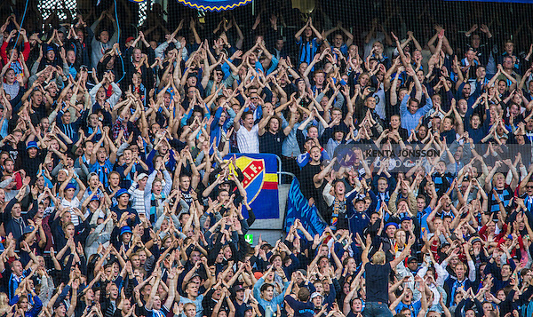 Stockholm 2014-08-31 Fotboll Allsvenskan Djurg&aring;rdens IF - Malm&ouml; FF :  <br /> Djurg&aring;rdens supportrar under matchen mellan Djurg&aring;rden och Malm&ouml;<br /> (Foto: Kenta J&ouml;nsson) Nyckelord:  Djurg&aring;rden DIF Tele2 Arena Malm&ouml; MFF supporter fans publik supporters