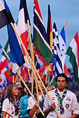 The participant countries flags are brought to the stage. Photo: Kim Rask/Scouterna