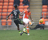 Blackpool's Clark Robertson battles with Bristol Rovers' Ellis Harrison<br /> <br /> Photographer Mick Walker/CameraSport<br /> <br /> The EFL Sky Bet League One - Blackpool v Bristol Rovers - Saturday 13th January 2018 - Bloomfield Road - Blackpool<br /> <br /> World Copyright &copy; 2018 CameraSport. All rights reserved. 43 Linden Ave. Countesthorpe. Leicester. England. LE8 5PG - Tel: +44 (0) 116 277 4147 - admin@camerasport.com - www.camerasport.com