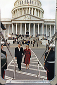 "Former United States President Ronald Reagan and former first lady Nancy Reagan leave the US Capitol in Washington, DC after the inaugural ceremonies on January 20, 1989.  They boarded Nighthawk 1 for a ride to Andrews Air Force Base and the subsequent flight home to California.  A Marine helicopter which has the sitting President aboard uses the call sign ""Marine One."" In this case, since Mr. Reagan was no longer the sitting President the helicopter was known by the call sign ""Nighthawk 1"" for the Marine Helicopter Squadron One (HMX-1), nicknamed the ""Nighthawks.""<br /> Mandatory Credit: Pete Souza / White House via CNP"