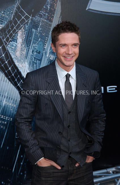 """WWW.ACEPIXS.COM . . . . . ....April 30 2007, New York City....Actor Topher Grace attending the US premiere of """"Spiderman 3"""" at the Kaufman Astoria Studios in Queens during the 2007 Tribeca Film Festival.....Please byline: KRISTIN CALLAHAN - ACEPIXS.COM.. . . . . . ..Ace Pictures, Inc:  ..(646) 769 0430..e-mail: info@acepixs.com..web: http://www.acepixs.com"""