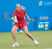 June 10th 2017,  Nottingham, England; WTA Aegon Nottingham Open Tennis Tournament day 1; Tereza Martincova of The Czech Republic on her way to victory over Freya Christie of Great Britain in two sets
