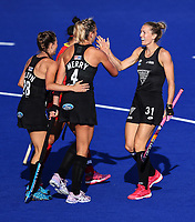Blacksticks Stacey Michelsen and Olivia Merry celebrate a goal. Pro League Hockey, Vantage Blacksticks Women v China. Nga Puna Wai Hockey Stadium, Christchurch, New Zealand. Sunday 17th February 2019. Photo: Simon Watts/Hockey NZ