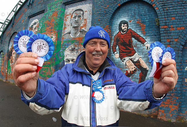 Clifford Healy, father of Rangers player David Healy, selling rosettes to raise funds for the Rangers Till I Die campaign outside Windsor park