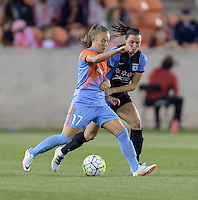 Andressa Machry (17) of the Houston Dash and Vanessa DiBernardo (10) of the Chicago Red Stars battle for control of the ball in the second half on Saturday, April 16, 2016 at BBVA Compass Stadium in Houston Texas.