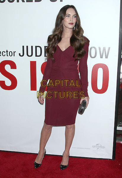 """Megan Fox.""""This Is 40"""" Los Angeles Premiere held at Grauman's Chinese Theatre, Hollywood, California, USA..December 12th, 2012.full length long sleeves dress purple maroon burgundy purple black shoes fuchsia silver clutch bag  .CAP/ADM/RE.©Russ Elliot/AdMedia/Capital Pictures."""
