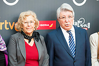 "Enrique Cerezo and Madrid Mayor Manuela Carmena attends to the presentation of the ""Premios Platino"" at Palacio de Cristal in Madrid. April 07, 2017. (ALTERPHOTOS/Borja B.Hojas) (NortePhoto.com)"