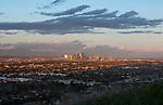View of the downtown Los Angeles skyline from Baldwin HIlls in Los Angeles, CA