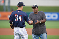 Tampa Yankees pitcher Andrew Schwaab (34) hands the ceremonial first pitch ball to former Detroit Tigers center fielder Ron LeFlore before Florida State League All-Star Game on June 17, 2017 at Joker Marchant Stadium in Lakeland, Florida.  LeFlore also played for the Chicago White Sox and Montreal Expos.  FSL North All-Stars  defeated the FSL South All-Stars  5-2.  (Mike Janes/Four Seam Images)