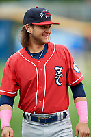 New Hampshire Fisher Cats shortstop Bo Bichette (5) warms up before the first game of a doubleheader against the Harrisburg Senators on May 13, 2018 at FNB Field in Harrisburg, Pennsylvania.  New Hampshire defeated Harrisburg 6-1.  (Mike Janes/Four Seam Images)