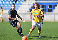 20190813 - DENDERLEEUW, BELGIUM : PAOK's Eleni Kakambouki (left) pictured watching LSK's Therese Asland during the female soccer game between the Greek PAOK Thessaloniki Ladies FC and the Norwegian LSK Kvinner Fotballklubb Ladies , the third and final game for both teams in the Uefa Womens Champions League Qualifying round in group 8 , Tuesday 13 th August 2019 at the Van Roy Stadium in Denderleeuw  , Belgium  .  PHOTO SPORTPIX.BE for NTB | DAVID CATRY