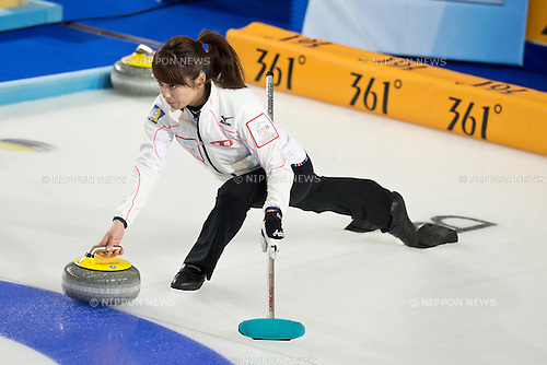 Miyo Ichikawa (JPN), MARCH 18, 2013 - Curling : World Women's Curling Championship 2013 Round Robin match between Germany 4-6 Japan at Volvo Sport Center in Riga, Latvia. (Photo by Enrico Calderoni/AFLO SPORT)