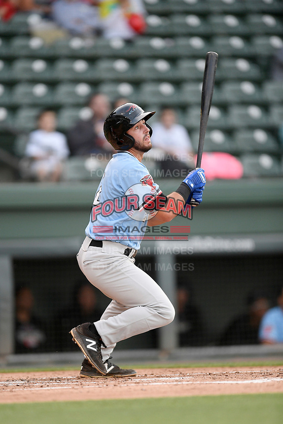 Second baseman Tyler Depreta-Johnson (2) of the Hickory Crawdads bats in a game against the Greenville Drive on Wednesday, May 15, 2019, at Fluor Field at the West End in Greenville, South Carolina. Greenville won, 6-5. (Tom Priddy/Four Seam Images)