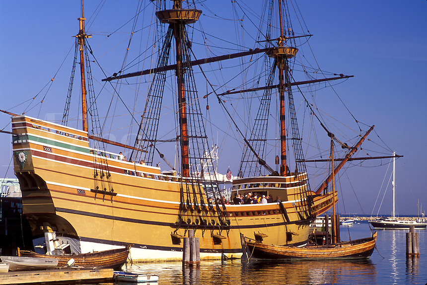 pilgrims, Mayflower, Plymouth, Massachusetts, MA, The Mayflower II moored at State Pier on Plymouth Harbor in Plymouth.