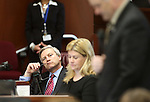 Nevada Senate Republicans, from left, Greg Brower, Patricia Farley and James Settelmeyer work on the Senate floor at the Legislative Building in Carson City, Nev., on Monday, April 20, 2015. <br /> Photo by Cathleen Allison