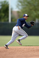 Milwaukee Brewers shortstop Gilbert Lara (70) during an Instructional League game against the Cincinnati Reds on October 6, 2014 at Maryvale Baseball Park Training Complex in Phoenix, Arizona.  (Mike Janes/Four Seam Images)