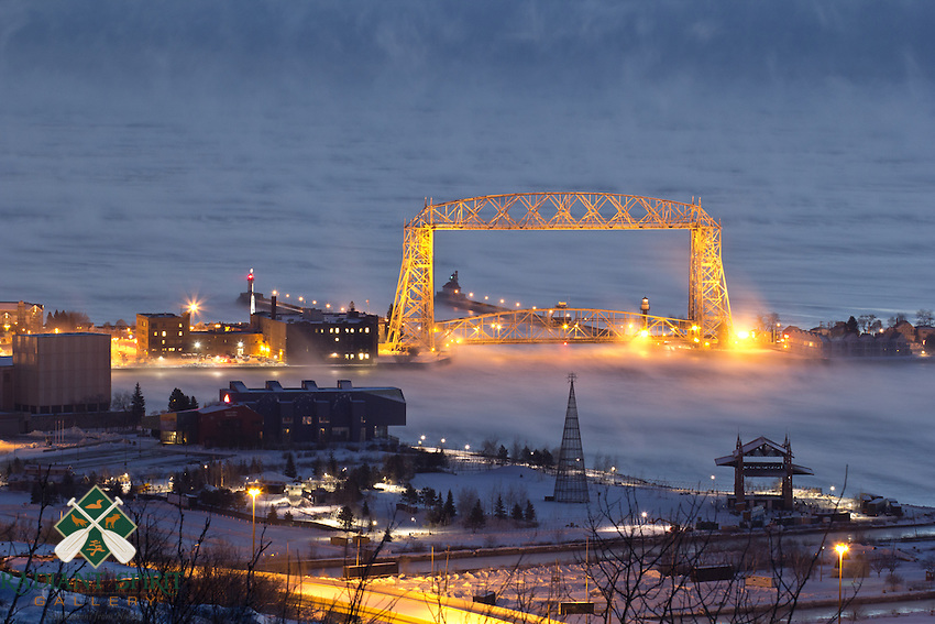 &quot;Aerial Lift Bridge in Sea Smoke&quot;<br /> <br /> Subzero temperatures and the open water on Lake Superior created abundant sea smoke before sunrise in Duluth.