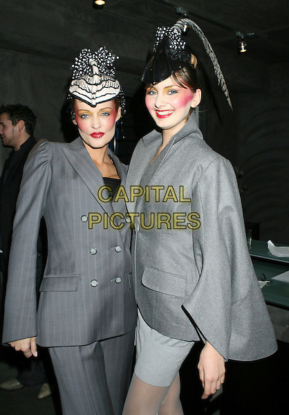MODELS.Lloyd Klein Fashion Show held at the Lloyd Klein Showroom, Los Angeles, California,.USA, 17 January 2008..half length  grey gray make-up hats suit jackets.CAP/ADM/RE.©Russ Elliot/AdMedia/Capital Pictures. *** Local Caption *** .