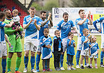 St Johnstone v RangersÖ21.05.17     SPFL    McDiarmid Park<br /> The players with their children before kick off<br /> Picture by Graeme Hart.<br /> Copyright Perthshire Picture Agency<br /> Tel: 01738 623350  Mobile: 07990 594431