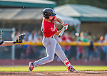 4 September 2016: Lowell Spinners infielder Andy Perez connects against the Vermont Lake Monsters at Centennial Field in Burlington, Vermont. The Spinners defeated the Lake Monsters 8-3 in NY Penn League action. Mandatory Credit: Ed Wolfstein Photo *** RAW (NEF) Image File Available ***