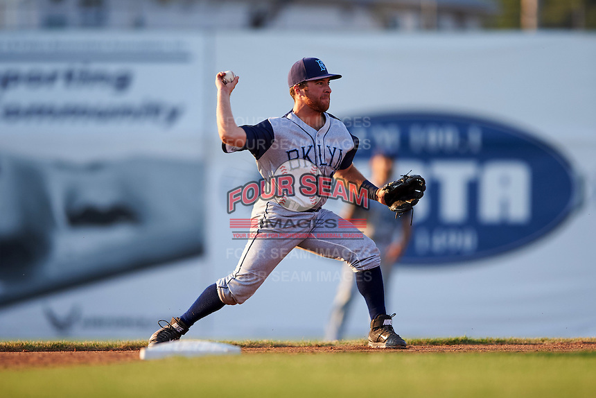 Brooklyn Cyclones second baseman Nick Sergakis (1) throws to first during a game against the Batavia Muckdogs on July 5, 2016 at Dwyer Stadium in Batavia, New York.  Brooklyn defeated Batavia 5-1.  (Mike Janes/Four Seam Images)