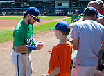 HARTFORD,  CT-071818JS23--Hartford's Brendan Rodgers (1) signs autographs for fans prior to the Yard Goat's game against Reading on Wednesday afternoon at Dunkin Donuts Park in Hartford. <br /> Jim Shannon Republican American