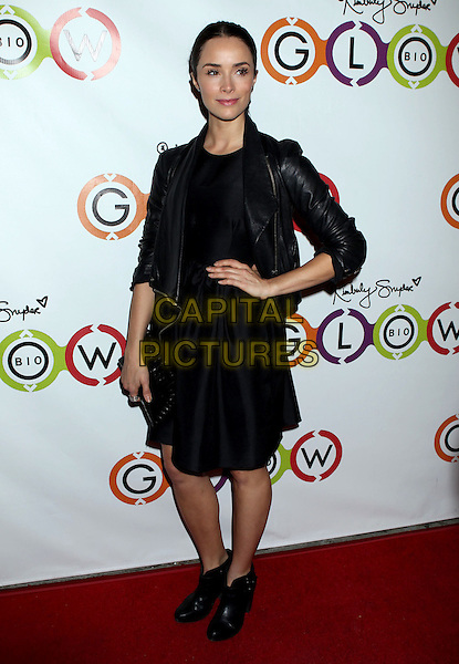 Abigail Spencer.Opening Of Kimberly Snyder's Glow Bio held at Glow Bio, West Hollywood, California, USA, 14th November 2012..full length dress hand on hip ankle boots black leather jacket .CAP/ADM/RE.©Russ Elliot/AdMedia/Capital Pictures.