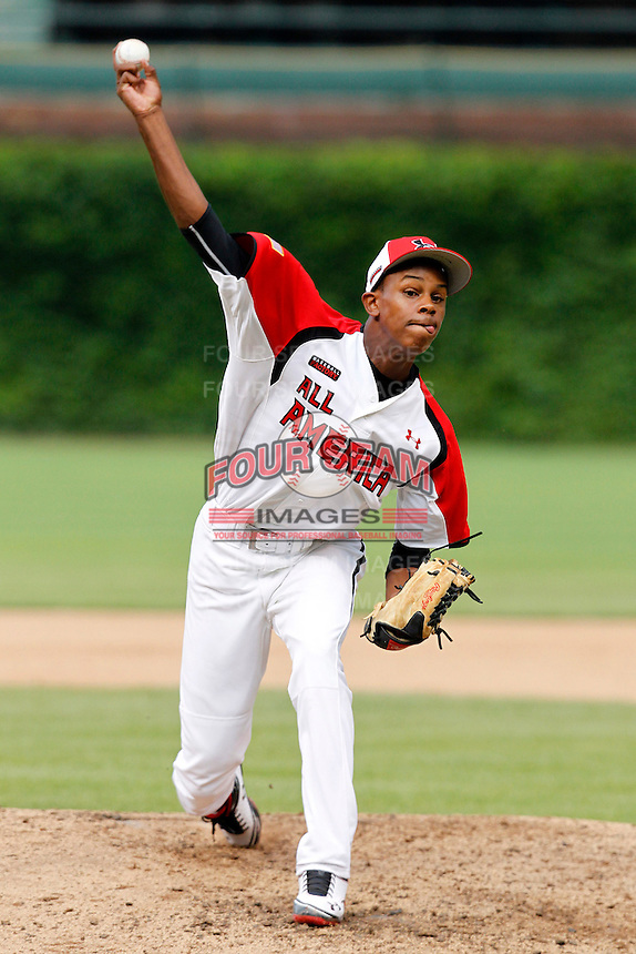 Pitcher Yency Almonte #9 during the Under Armour All-American Game at Wrigley Field on August 13, 2011 in Chicago, Illinois.  (Mike Janes/Four Seam Images)