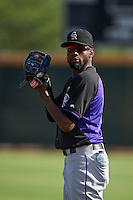 Colorado Rockies pitcher Miguel Castro (46) during practice before an instructional league game against the SK Wyverns on October 10, 2015 at the Salt River Fields at Talking Stick in Scottsdale, Arizona.  (Mike Janes/Four Seam Images)
