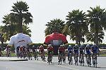 The peloton with Quick-Step Floors on the front during Stage 5 The Meraas Stage final stage of the Dubai Tour 2018 the Dubai Tour&rsquo;s 5th edition, running 132km from Skydive Dubai to City Walk, Dubai, United Arab Emirates. 10th February 2018.<br /> Picture: LaPresse/Fabio Ferrari | Cyclefile<br /> <br /> <br /> All photos usage must carry mandatory copyright credit (&copy; Cyclefile | LaPresse/Fabio Ferrari)