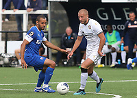 Luke Coulson of Bromley in possession as Chesterfield's Curtis Weston looks on during Bromley vs Chesterfield, Vanarama National League Football at the H2T Group Stadium on 7th September 2019
