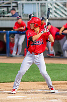 Peoria Chiefs shortstop Tommy Edman (16) at bat during a Midwest League game against the Beloit Snappers on April 15, 2017 at Pohlman Field in Beloit, Wisconsin.  Beloit defeated Peoria 12-0. (Brad Krause/Four Seam Images)