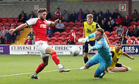 Fleetwood Town's Wes Burns is beaten to the ball by Oxford United's Simon Eastwood<br /> <br /> Photographer Rich Linley/CameraSport<br /> <br /> The EFL Sky Bet League One - Fleetwood Town v Oxford United - Saturday 7th September 2019 - Highbury Stadium - Fleetwood<br /> <br /> World Copyright © 2019 CameraSport. All rights reserved. 43 Linden Ave. Countesthorpe. Leicester. England. LE8 5PG - Tel: +44 (0) 116 277 4147 - admin@camerasport.com - www.camerasport.com
